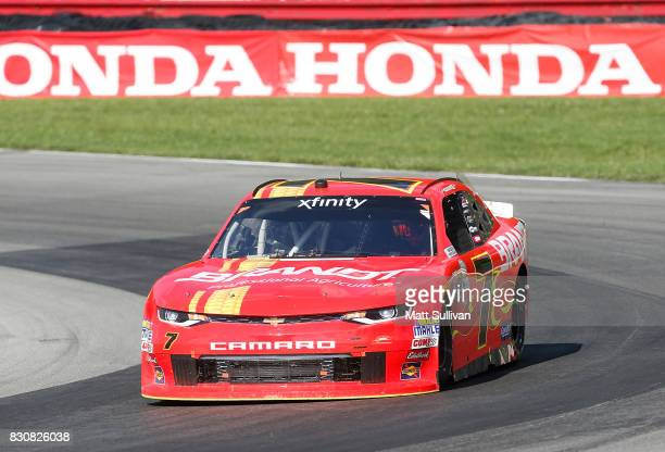 Justin Allgaier driver of the BRANDT Professional Agriculture Chevrolet races during the NASCAR XFINITY Series MidOhio Challenge at MidOhio Sports...