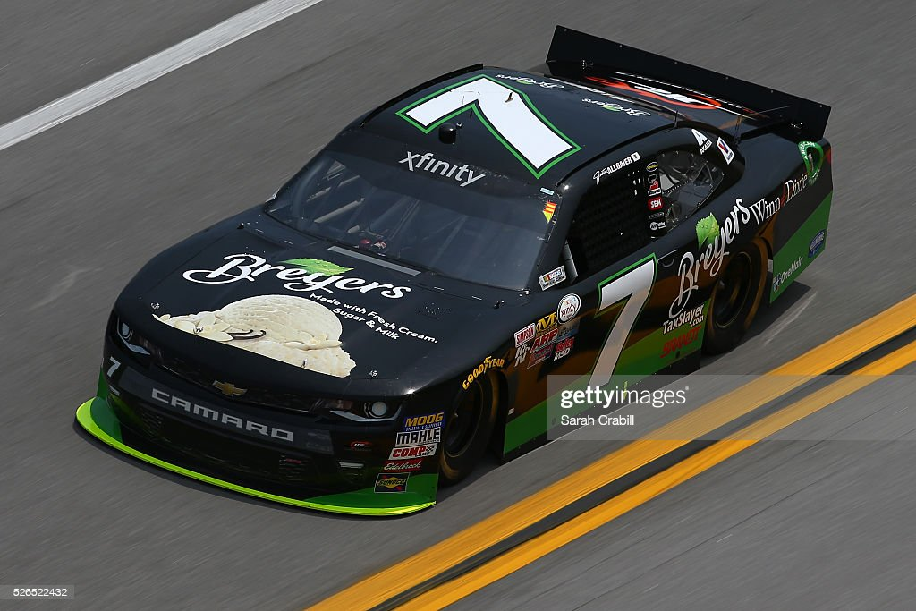Justin Allgaier, driver of the #7 Breyers Chevrolet, drives during qualifying for the NASCAR XFINITY Series Sparks Energy 300 at Talladega Superspeedway on April 30, 2016 in Talladega, Alabama.