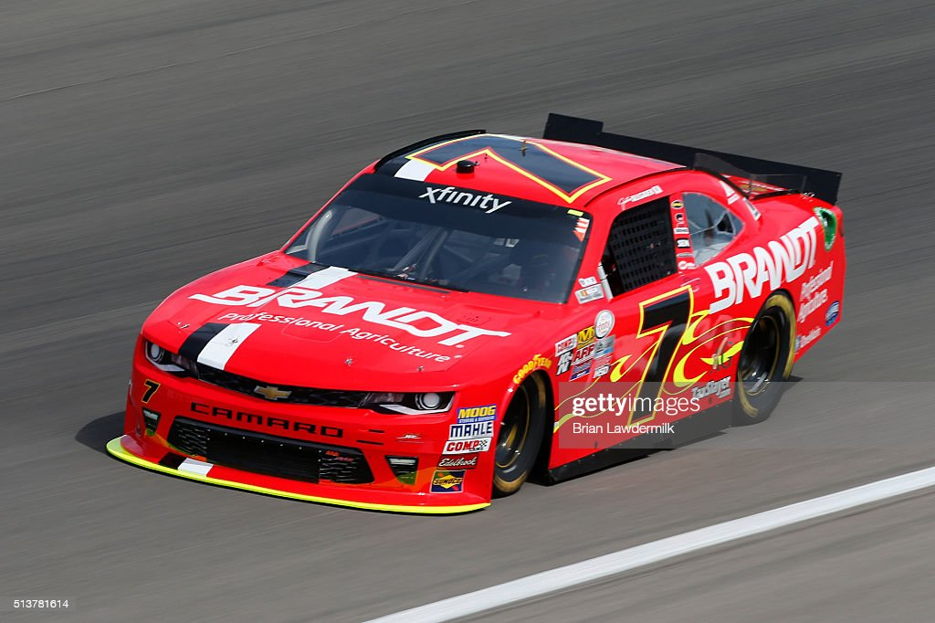 Justin Allgaier driver of the ScubaLife Chevrolet drives during practice for the NASCAR Xfinity Series Boyd Gaming 300 at Las Vegas Motor Speedway on...