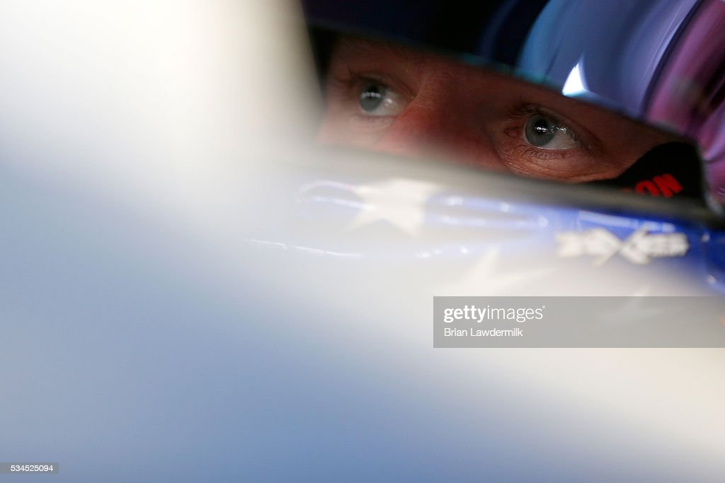 <a gi-track='captionPersonalityLinkClicked' href=/galleries/search?phrase=Justin+Allgaier&family=editorial&specificpeople=5380573 ng-click='$event.stopPropagation()'>Justin Allgaier</a>, driver of the #7 Suave Men Chevrolet, sits in his car during practice for the NASCAR XFINITY Series Hisense 4K TV 300 at Charlotte Motor Speedway on May 27, 2016 in Charlotte, North Carolina.