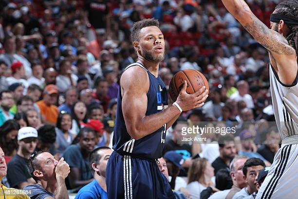 Justin Anderson of the Dallas Mavericks defends the ball against the Atlanta Hawks during the game on July 18 2015 at Thomas And Mack Center Las...