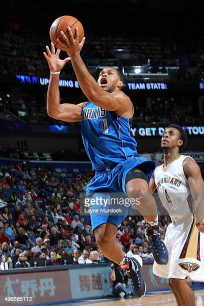 Justin Anderson of the Dallas Mavericks goes for the layup against the New Orleans Pelicans during the game on November 10 2015 at Smoothie King...