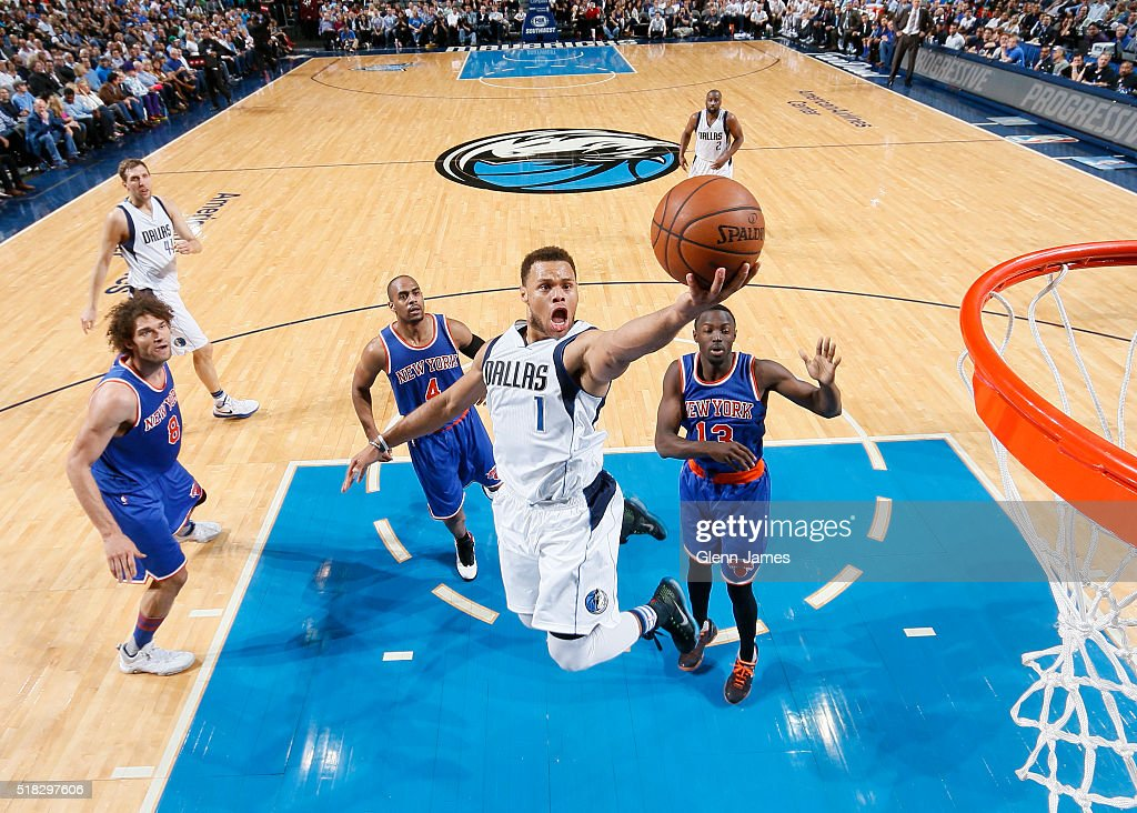 Justin Anderson #1 of the Dallas Mavericks goes in for the lay up against the New York Knicks on March 30, 2016 at the American Airlines Center in Dallas, Texas.