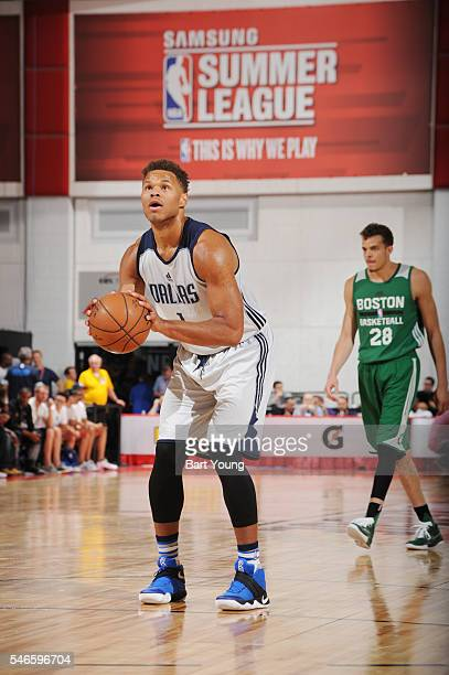 Justin Anderson of the Dallas Mavericks shoots a free throw against the Boston Celtics during the 2016 NBA Las Vegas Summer League game on July 12...