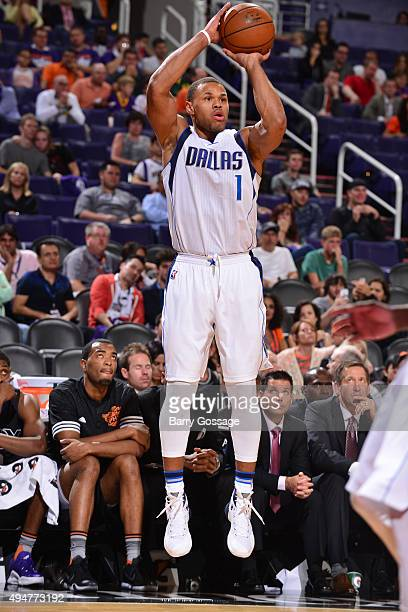 Justin Anderson of the Dallas Mavericks shoots against the Phoenix Suns on October 28 at Talking Stick Resort Arena in Phoenix Arizona NOTE TO USER...