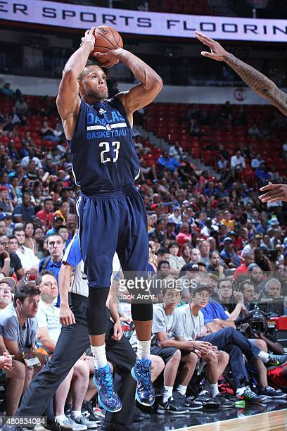 Justin Anderson of the Dallas Mavericks takes a shot against the Los Angeles Lakers on July 15 2015 at the Thomas Mack Center in Las Vegas Nevada...