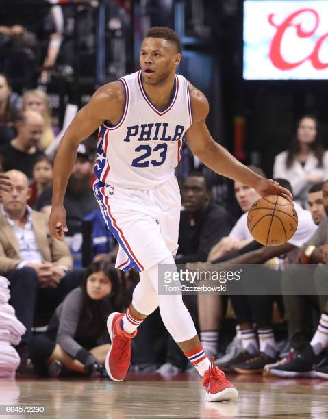 Justin Anderson of the Philadelphia 76ers dribbles against the Toronto Raptors during NBA game action at Air Canada Centre on April 2 2017 in Toronto...