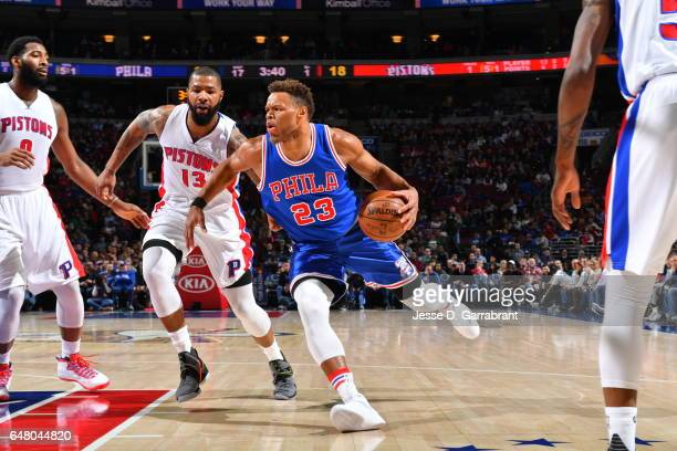 Justin Anderson of the Philadelphia 76ers drives to the basket against the Detroit Pistons at Wells Fargo Center on March 4 2017 in Philadelphia...