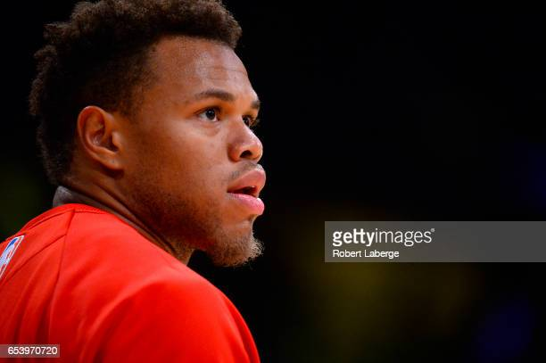 Justin Anderson of the Philadelphia 76ers during warm up before the game against the Los Angeles Lakers on March 12 2017 at STAPLES Center in Los...
