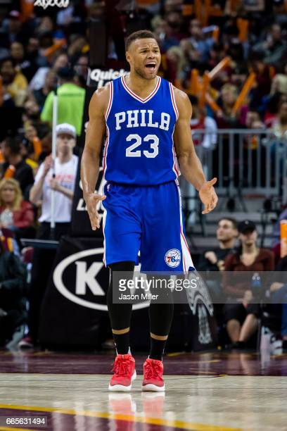Justin Anderson of the Philadelphia 76ers reacts after a call during the second half against the Cleveland Cavaliers at Quicken Loans Arena on March...