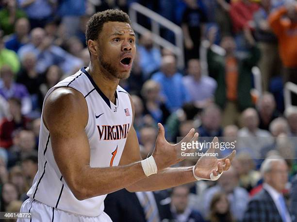 Justin Anderson of the Virginia Cavaliers reacts after a play against the North Carolina Tar Heels during the semifinals of the 2015 ACC Basketball...