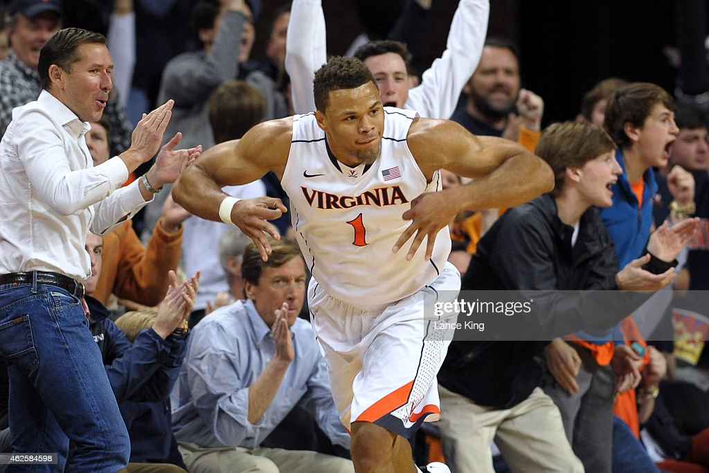 <a gi-track='captionPersonalityLinkClicked' href=/galleries/search?phrase=Justin+Anderson+-+Basketballer&family=editorial&specificpeople=13887915 ng-click='$event.stopPropagation()'>Justin Anderson</a> #1 of the Virginia Cavaliers reacts following a shot against the Duke Blue Devils at John Paul Jones Arena on January 31, 2015 in Charlottesville, Virginia.