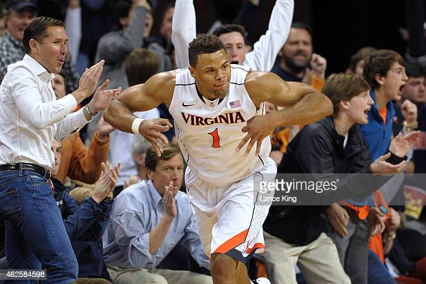 Justin Anderson of the Virginia Cavaliers reacts following a shot against the Duke Blue Devils at John Paul Jones Arena on January 31 2015 in...