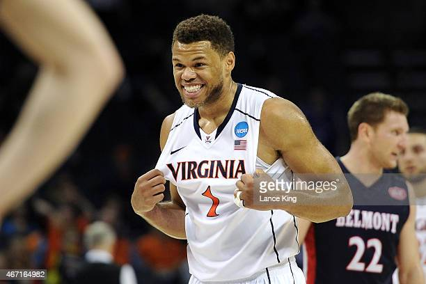 Justin Anderson of the Virginia Cavaliers reacts near the end of a game against the Belmont Bruins during the second round of the 2015 NCAA Men's...