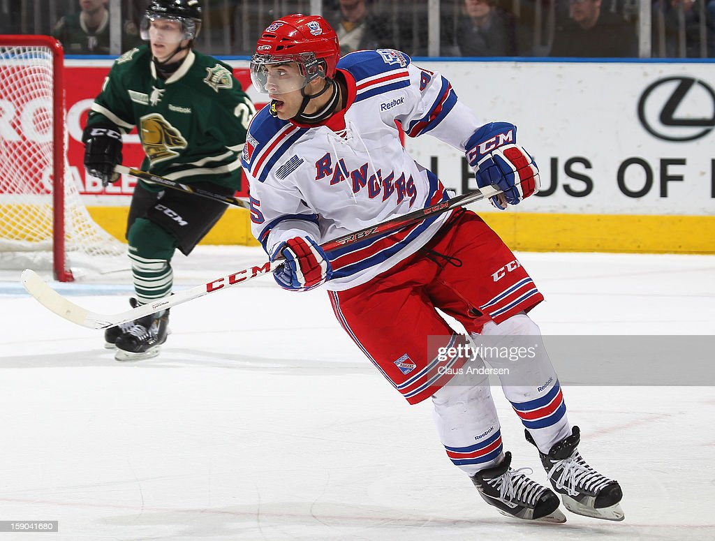 Justin Bailey #95 of the Kitchener Rangers skates in an OHL game against the London Knights on January 5, 2013 at the Budweiser Gardens in London, Canada. The Knights defeated the Rangers 3-2.