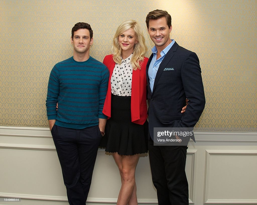 Justin Bartha Georgia King and Andrew Rannells at 'The New Normal' Press Conference at the Four Seasons Hotel on October 26 2012 in Beverly Hills...