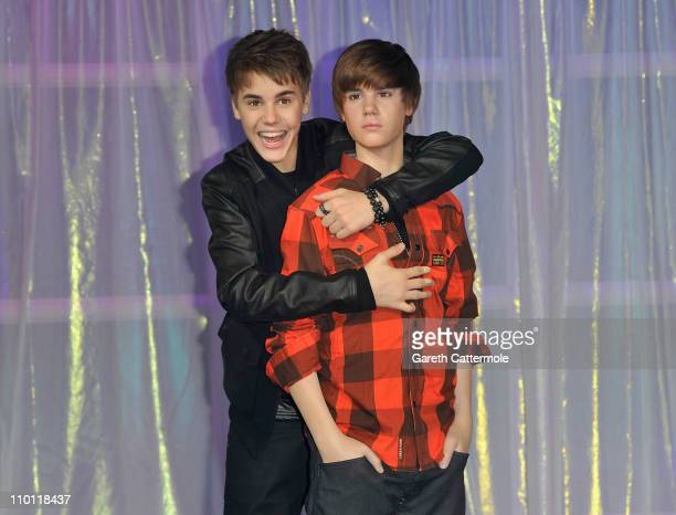 Justin Beiber unveils his waxwork at Madame Tussauds on March 15 2011 in London England