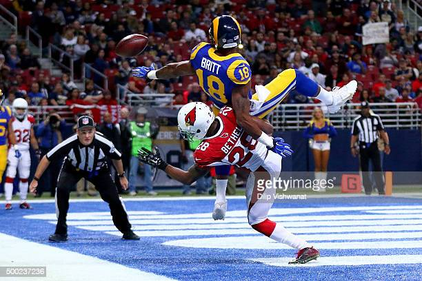 Justin Bethel of the Arizona Cardinals breaks up a pass intended for Kenny Britt of the St Louis Rams in the fourth quarter at the Edward Jones Dome...