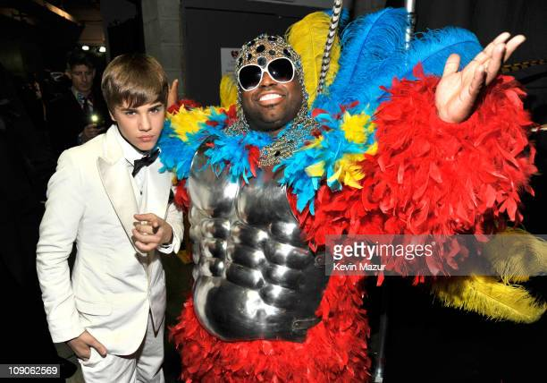 Justin Bieber and Cee Lo Green attends The 53rd Annual GRAMMY Awards held at Staples Center on February 13 2011 in Los Angeles California