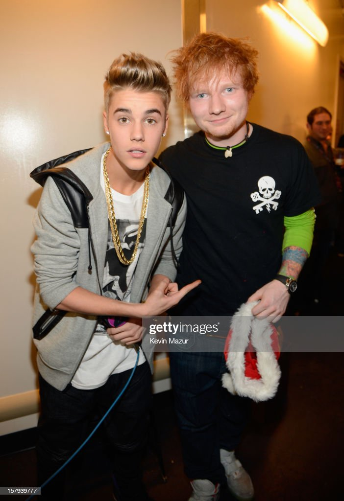 <a gi-track='captionPersonalityLinkClicked' href=/galleries/search?phrase=Justin+Bieber&family=editorial&specificpeople=5780923 ng-click='$event.stopPropagation()'>Justin Bieber</a> and <a gi-track='captionPersonalityLinkClicked' href=/galleries/search?phrase=Ed+Sheeran&family=editorial&specificpeople=7604356 ng-click='$event.stopPropagation()'>Ed Sheeran</a> attend backstage at Z100's Jingle Ball 2012, presented by Aeropostale, at Madison Square Garden on December 7, 2012 in New York City.