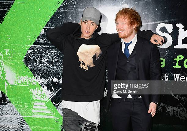 Justin Bieber and Ed Sheeran attend the World Premiere of 'Ed Sheeran Jumpers For Goalposts' at Odeon Leicester Square on October 22 2015 in London...