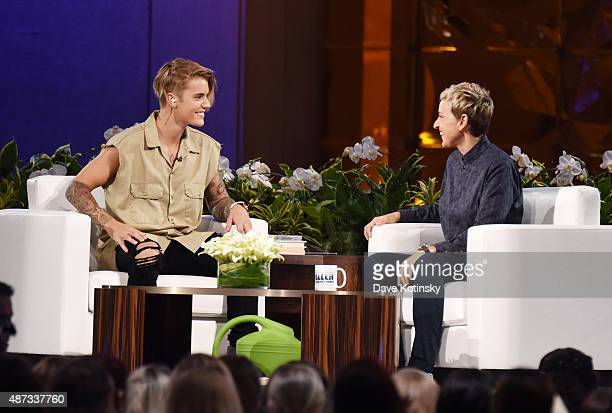 Justin Bieber and Ellen Degeneres appear at 'The Ellen Degeneres Show' Season 13 BiCoastal Premiere at Rockefeller Center on September 8 2015 in New...