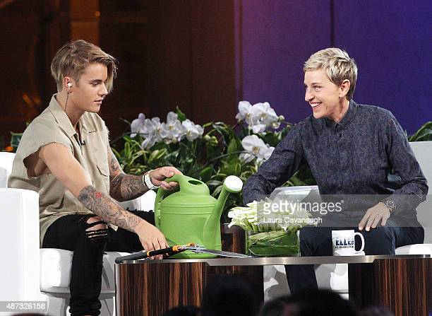 Justin Bieber and Ellen DeGeneres attend 'The Ellen DeGeneres Show' Season 13 bicoastal premiere at Rockefeller Center on September 8 2015 in New...