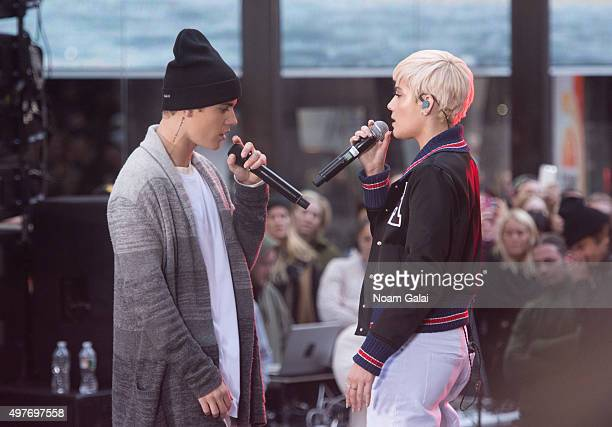 Justin Bieber and Halsey perform on NBC's 'Today' at NBC's TODAY Show on November 18 2015 in New York