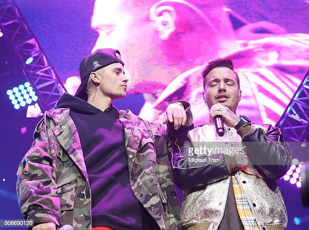 Justin Bieber and J Balvin perform onstage during Calibash 2016 held at Staples Center on January 24 2016 in Los Angeles California