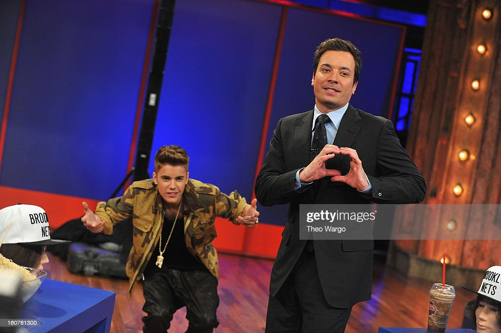 <a gi-track='captionPersonalityLinkClicked' href=/galleries/search?phrase=Justin+Bieber&family=editorial&specificpeople=5780923 ng-click='$event.stopPropagation()'>Justin Bieber</a> and Jimmy Fallon interaction during a taping of 'Late Night With Jimmy Fallon' at Rockefeller Center on February 5, 2013 in New York City.