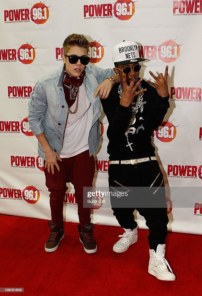 Justin Bieber and Lil Twist attend Power 96.1's Jingle Ball 2012 at the Philips Arena on December 12, 2012 in Atlanta.