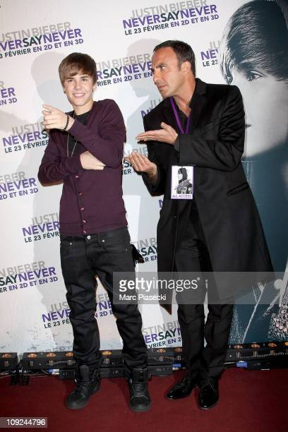 Justin Bieber and Nikos Aliagas attend the 'Never Say Never' Premiere on February 17 2011 in Paris France