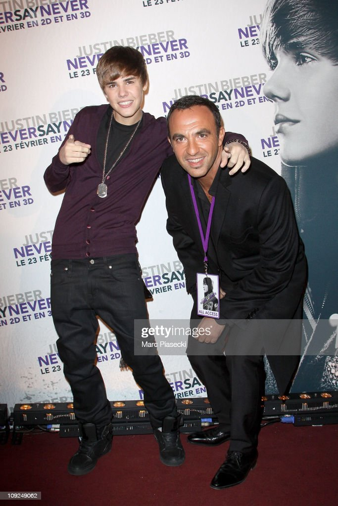 <a gi-track='captionPersonalityLinkClicked' href=/galleries/search?phrase=Justin+Bieber&family=editorial&specificpeople=5780923 ng-click='$event.stopPropagation()'>Justin Bieber</a> and <a gi-track='captionPersonalityLinkClicked' href=/galleries/search?phrase=Nikos+Aliagas&family=editorial&specificpeople=573643 ng-click='$event.stopPropagation()'>Nikos Aliagas</a> (R) attend the 'Never Say Never' Premiere on February 17, 2011 in Paris, France.