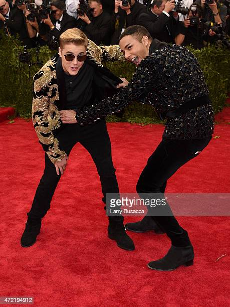 Justin Bieber and Olivier Rousteing attend the 'China Through The Looking Glass' Costume Institute Benefit Gala at the Metropolitan Museum of Art on...
