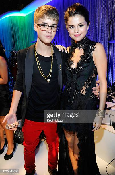 Justin Bieber and Selena Gomez arrive at the The 28th Annual MTV Video Music Awards at Nokia Theatre LA LIVE on August 28 2011 in Los Angeles...