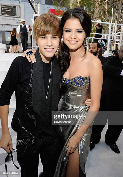 Justin Bieber and Selena Gomez arrives at the 2010 MTV Video Music Awards held at Nokia Theatre LA Live on September 12 2010 in Los Angeles California