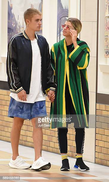 Justin Bieber and Sofia Richie are seen at Yaesu shopping mall on August 14 2016 in Tokyo Japan