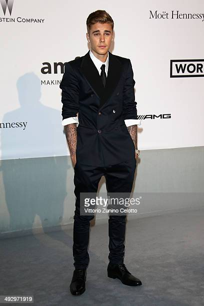 Justin Bieber attends amfAR's 21st Cinema Against AIDS Gala Presented By WORLDVIEW BOLD FILMS And BVLGARI at Hotel du CapEdenRoc on May 22 2014 in...