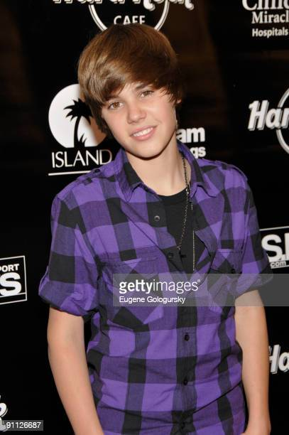 Justin Bieber attends the 3rd annual Tiki Rocks The Square for the Children's Miracle Network at the Hard Rock Cafe Times Square on September 24 2009...