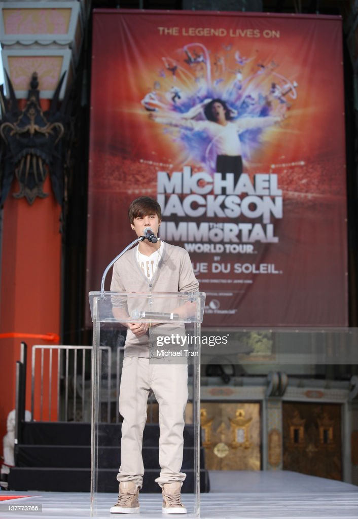 Justin Bieber attends the Michael Jackson 'Immortalized' hand and footprint ceremony held at Grauman's Chinese Theatre on January 26, 2012 in Hollywood, California.
