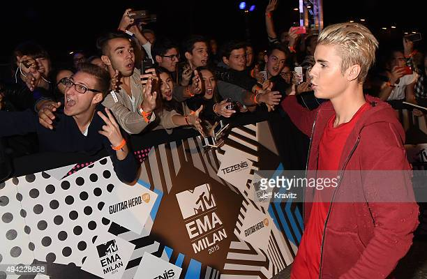 Justin Bieber greets fans at the MTV EMA's 2015 at Mediolanum Forum on October 25 2015 in Milan Italy