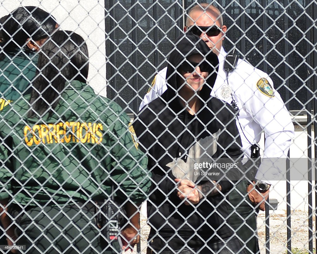 <a gi-track='captionPersonalityLinkClicked' href=/galleries/search?phrase=Justin+Bieber&family=editorial&specificpeople=5780923 ng-click='$event.stopPropagation()'>Justin Bieber</a> is released from the Turner Guilford Knight Correctional Center after he was arrested for DUI and resisting arrest on January 23, 2014 in Miami Beach, Florida.