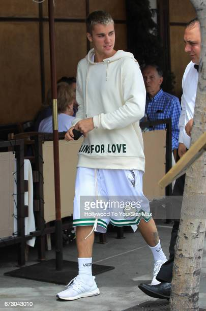 Justin Bieber is seen on April 25 2017 in Los Angeles CA