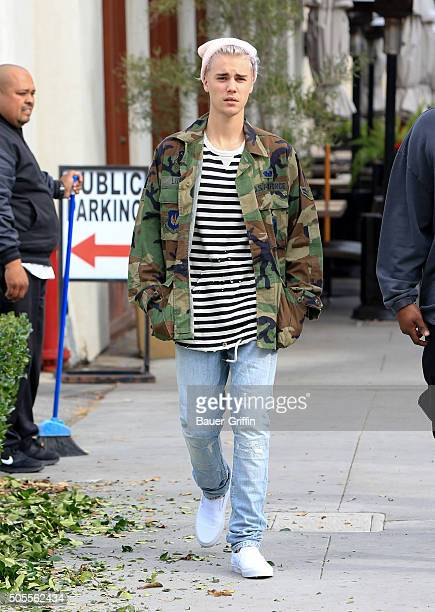 Justin Bieber is seen on January 18 2016 in Los Angeles California