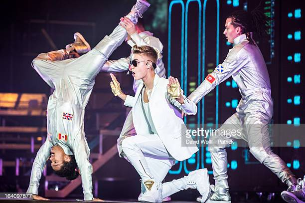 Justin Bieber performs at Palais Omnisports de Bercy on March 19 2013 in Paris France