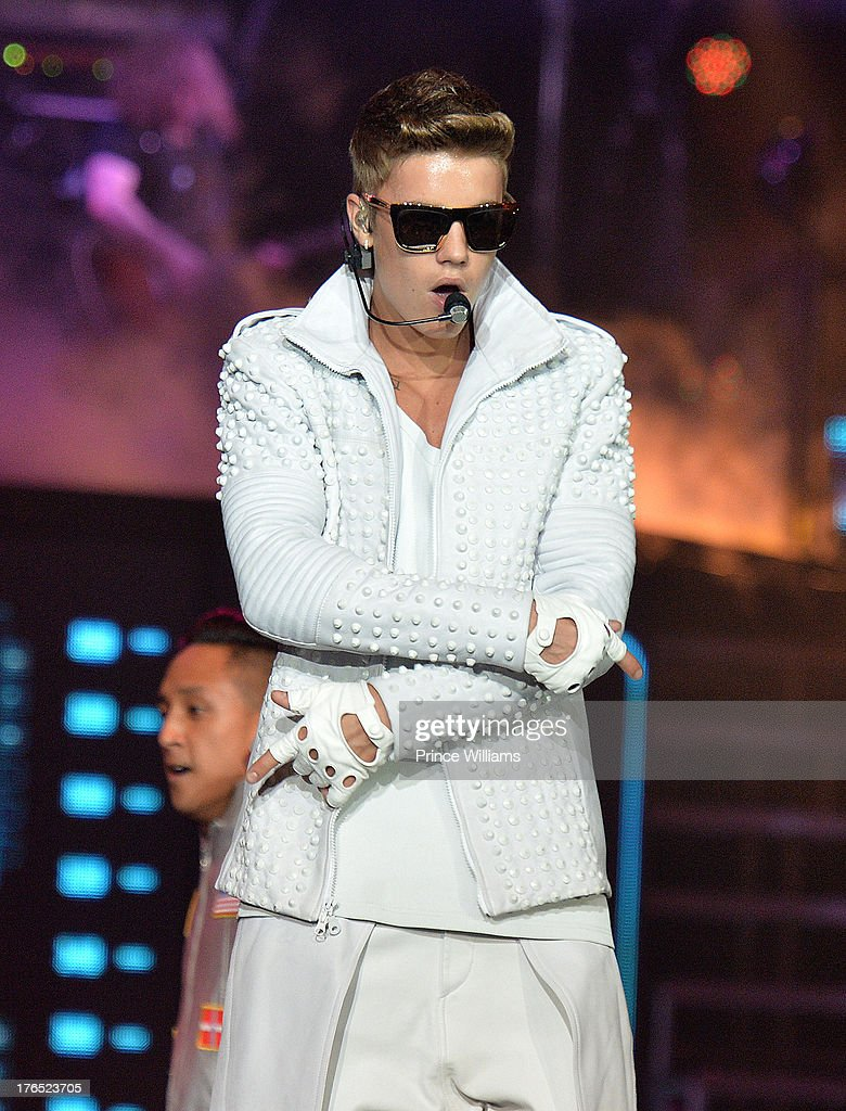 Justin Bieber performs at Phillips Arena on August 10, 2013 in Atlanta, Georgia.