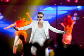 Justin Bieber performs at the Telenor Arena on the Norwegian leg of his Believe Tour on April 16 2013 in Oslo Norway