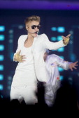 Justin Bieber performs at the Telenor Arena on the second night of the Norwegian leg of his 'Believe' tour on April 17 2013 in Oslo Norway