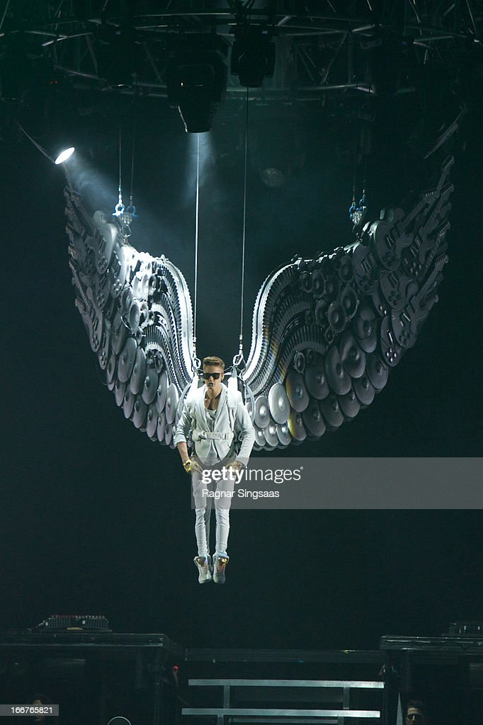 Justin Bieber performs during his Believe tour at Telenor Arena on April 16 2013 in Oslo Norway