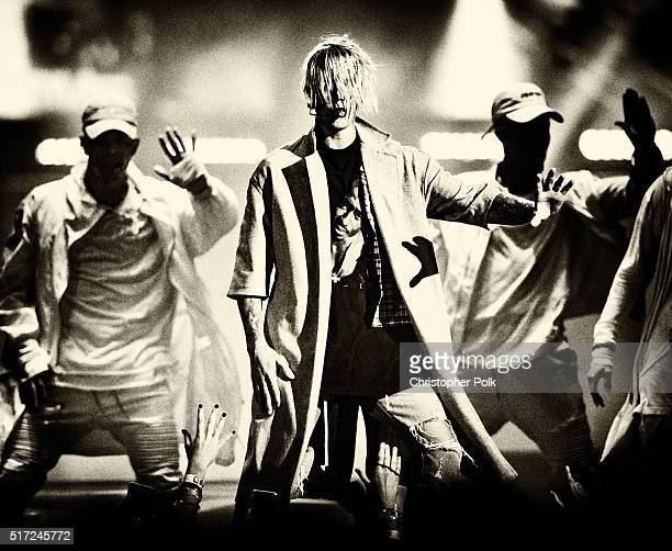 This image has been altered digitally Justin Bieber performs during the 2016 Purpose World Tour at Staples Center on March 20 2016 in Los Angeles...